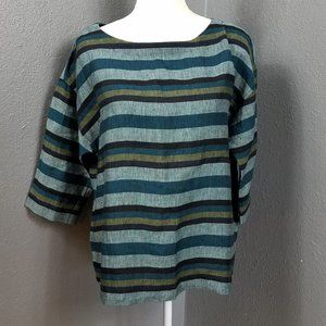 Eileen Fisher Striped Top size S Organic Linen